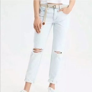 American Eagle Distressed Striped Blue Jeans